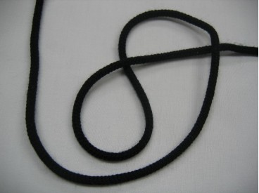 Zwart koord 3 a 4 mm. doorsnee  Katoen.