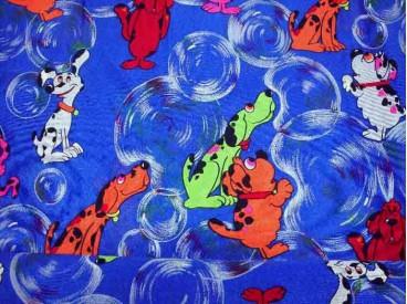 Een glanzende kobalt carnavalsstof met honden. 100% polyester  1.50 mtr. breed