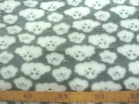 Coral Fleece  Lichtgrijs met poedelkopjes  10225-61N