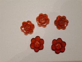 Kinder bloemknoop Rood doorschijnend 15 mm. kbk77