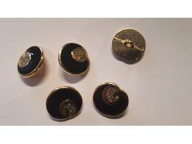 Damesknoop Sjiek metaal Zwart met goud 22mm dksm238
