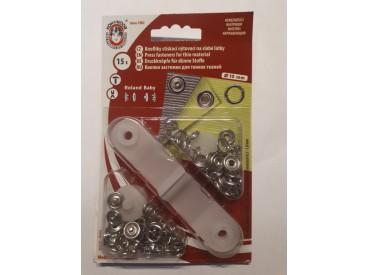 Babydrukkers. Zilveren inslagknoop met werktuig. Een open rondje. Doorsnee 10 mm. 15 stuks per pakje.