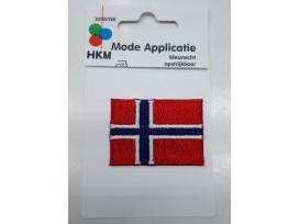 Noorse vlag applicatie.  5 x 3,5 cm.  Opstrijkbaar