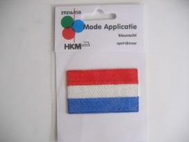 Zeer grote opstrijkbare Nederlandse vlag applicatie.   10 x 6 cm