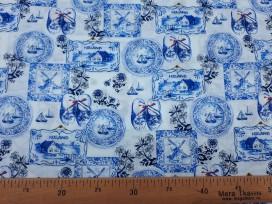Delfts blauwe stof met Hollandse motieven  13tg