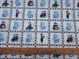 Delftsblauw  Boer en Boerin Gekleurd  9