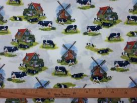 Delfts blauwe stof  met koeien en molens  12