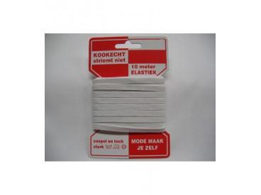 Wit pyjama elastiek op kaart kookecht, striemt niet  6 mm breed, 10 mtr. lang