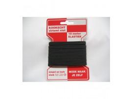 Zwart pyjama elastiek op kaart kookecht, striemt niet.  6 mm breed en 10 mtr. lang.