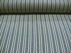 Blauwe quiltstof van Benartex met een offwhite zigzag.  100% katoen  1.10 mtr.breed