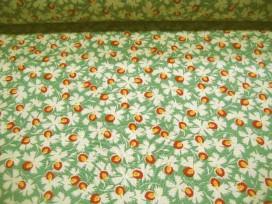 Quiltkatoen Benartex Minibloem met groen, rood en geel 1008q