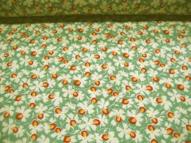 Quiltkatoen Minibloem met groen, rood en geel 1008q