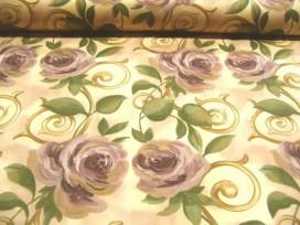 7n Quiltkatoen Creme met grote paarse bloemen 1013q