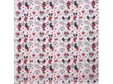 Disney stof Met Micky en Minnie Mouse  100% Gekaard poplin katoen (100% American Carded Cotton Poplin)  150 cm breed.  120 gr/m2