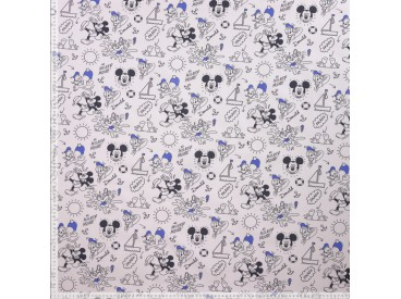 Disney stof met Mickey Mouse en Donald Duck  100% Gekaard poplin katoen (100% American Carded Cotton Poplin)  150 cm breed.  120