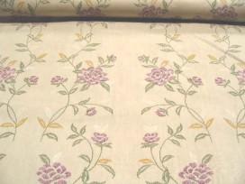 7o Quiltkatoen Creme met paarse bloemen 1014q
