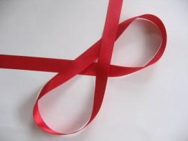 Satijnlint Helder rood per rol van 25 mtr  15 mm breed