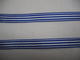 8x Gestreept sierlint kobaltblauw/wit