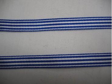 Gestreept sierlint kobaltblauw/wit  10mm