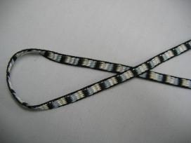 Smal geblokt sierlint zwart  3mm