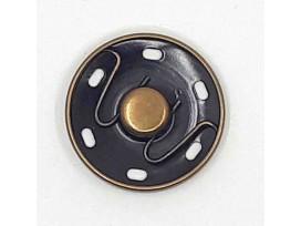 Een opnaaibare oud bronzen drukknoop met een doorsnee van 30mm.  1 Drukknoop bestaat uit 2 delen, een mannetje en een vrouwtje.