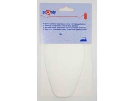 2 Witte elleboogstukken van kunstleer! Deze zijn opstrijkbaar en opnaaibaar. De gaatjes om ze vast te zetten zitten er al in.