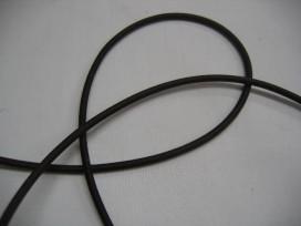 Koord elastiek donkerbruin 3 mm.  Een rol van 50 meter en de prijs is per rol.