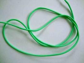 Groen koord elastiek van ca 3 mm. doorsnee  Een rol van 50 meter en de prijs is per rol.
