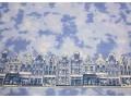 Delfts blauwe stof blauw gevlekt met huisjes  24tg