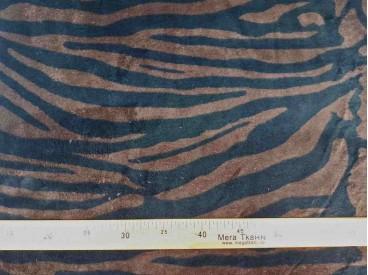 Een superzachte coral fleece met een donkerbruine tijgerprint  100% polyester  1,50 meter breed  240 gram p/m²