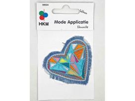 Hartjes applicatie  Jeansblauw met gekleurd mozaiek
