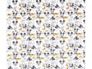 Disney stof Met Micky Mouse uitgegleden over een bananen schil.  100% Gekaard poplin katoen (100% American Carded Cotton Poplin)