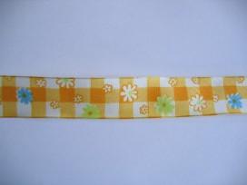 9n Sierband Boerenbont geel met bloemen 344