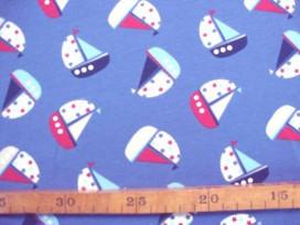 Oeko-Tex  Kindertricot  Jeansblauw met zeilboot