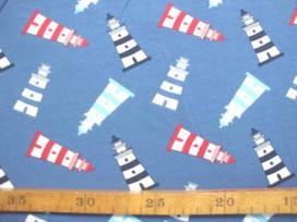 Oeko-Tex kindertricot  Jeansblauw met vuurtorens