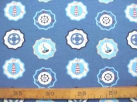 Oeko-Tex kindertricot  Jeansblauw met bloem motief