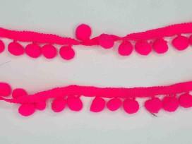Pompom sierband Oekotex  Neon Pink