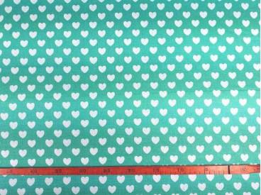 Canvas stof Mintgroen met witte hartjes