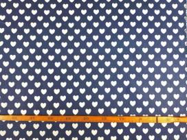 Canvas stof Jeansblauw met witte hartjes