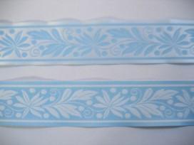 Sierband Lichtblauw met blaadjes 33mm