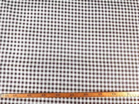 Canvas stof met print boerenbont ruit  Bruin