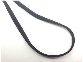 Zwart stevig en zacht elastisch koord plat  3mm breed