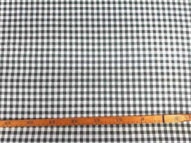 Canvas stof met print boerenbont ruit  Donkergrijs
