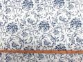 Canvas stof met print  Wit met Delftsblauwe bloem