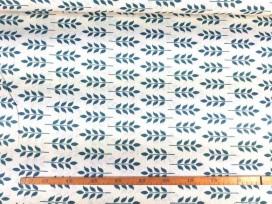 Canvas stof met print  Offwhite met oudgroene takjes