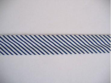 Donkerblauw/wit gestreept biaisband.  100% katoen  20 mm. breed