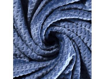 Waffle fleece  Jeansblauw 100% Polyester 1.50 mtr. br. 280 gram p/m2