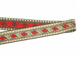 Sinterklaasband goud met rode ruit  30 mm.