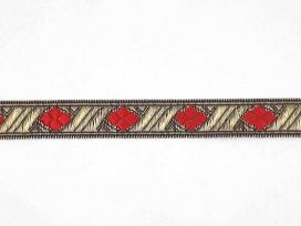 Sinterklaasband goud met rode ruit  15 mm.