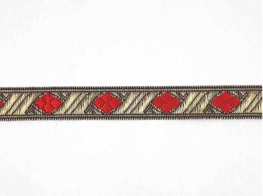 Goudkleurig sinterklaasband met een rode  ruit. Uitstekend geschikt voor Sinterklaaspakken en Zwarte Piet kleding. 15 mm. breed